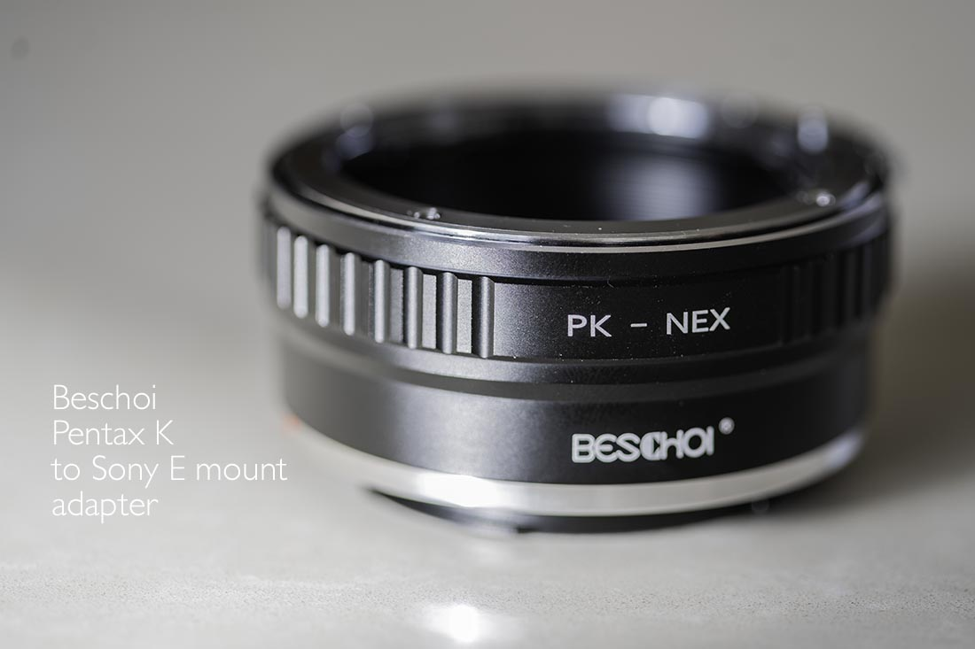 Beschoi Pentax K to Sony E mount adapter
